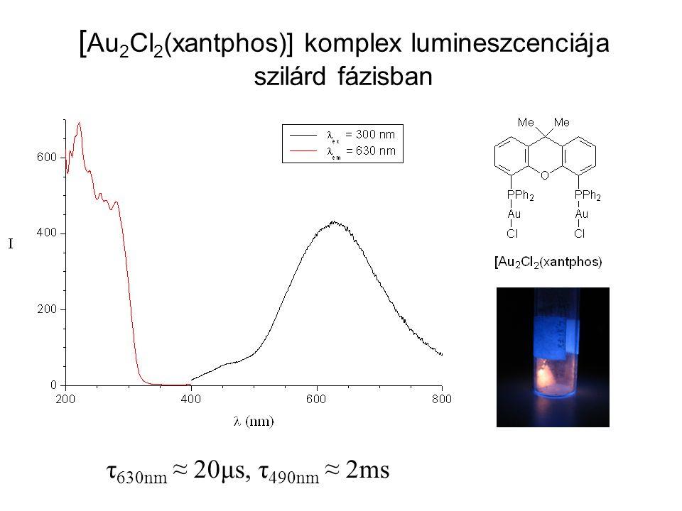 [ Au 2 Cl 2 (xantphos)] komplex lumineszcenciája szilárd fázisban τ 630nm ≈ 20μs, τ 490nm ≈ 2ms