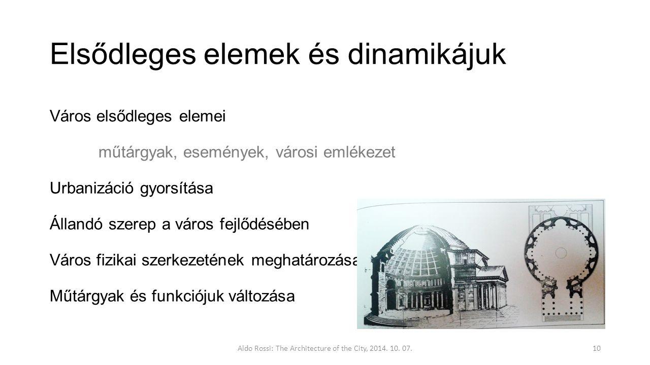 Elsődleges elemek és dinamikájuk Város elsődleges elemei műtárgyak, események, városi emlékezet Urbanizáció gyorsítása Állandó szerep a város fejlődésében Város fizikai szerkezetének meghatározása Műtárgyak és funkciójuk változása Aldo Rossi: The Architecture of the City, 2014.