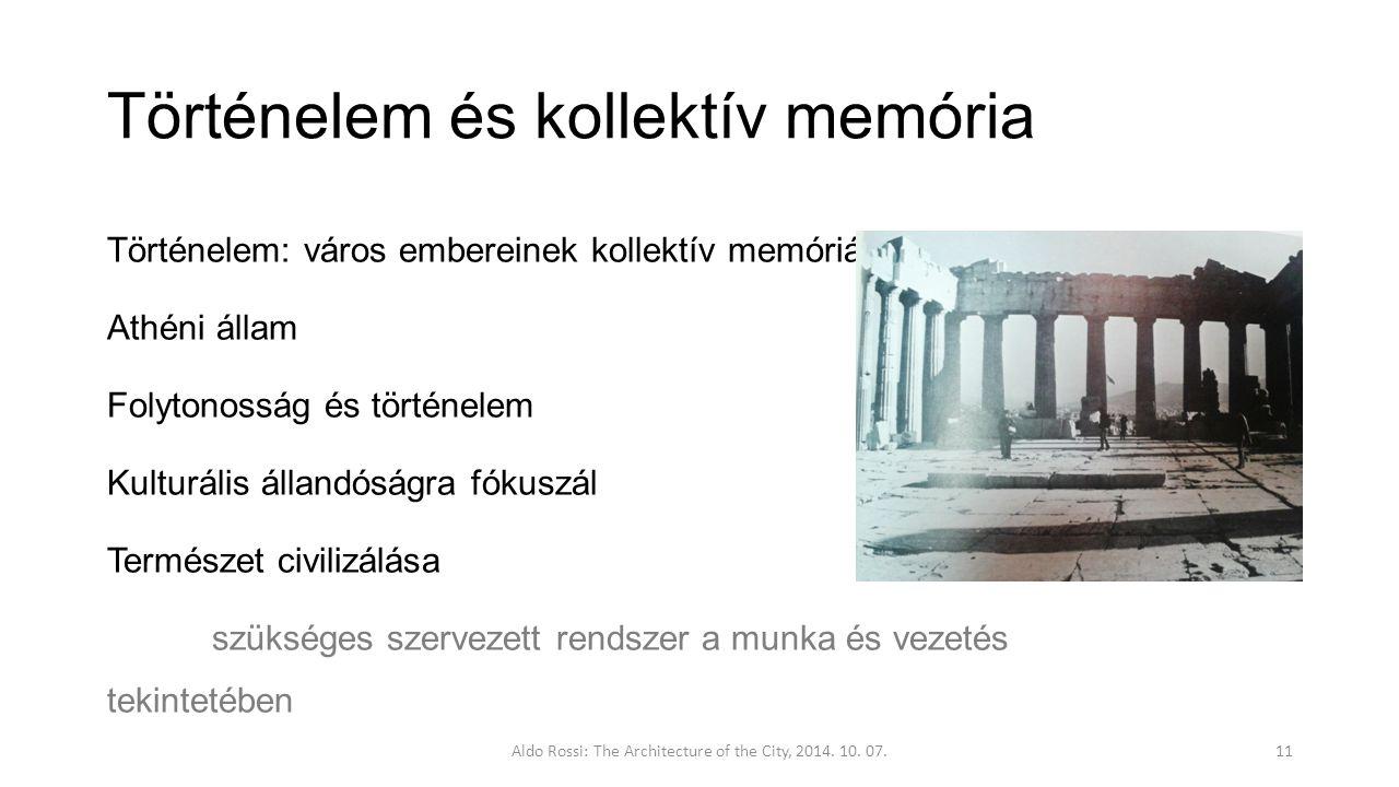 Történelem és kollektív memória Történelem: város embereinek kollektív memóriája Athéni állam Folytonosság és történelem Kulturális állandóságra fókuszál Természet civilizálása szükséges szervezett rendszer a munka és vezetés tekintetében Aldo Rossi: The Architecture of the City, 2014.