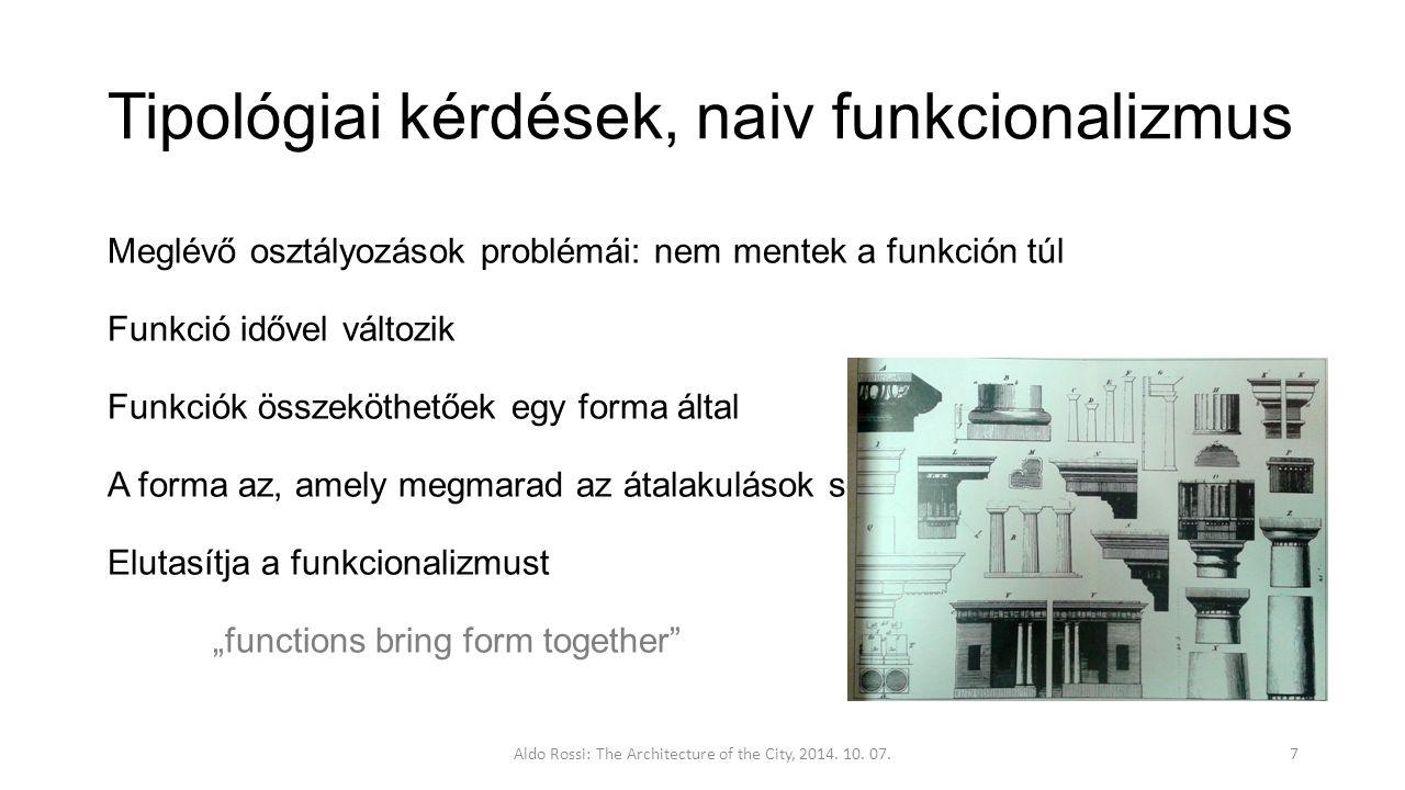 """Tipológiai kérdések, naiv funkcionalizmus Meglévő osztályozások problémái: nem mentek a funkción túl Funkció idővel változik Funkciók összeköthetőek egy forma által A forma az, amely megmarad az átalakulások során Elutasítja a funkcionalizmust """"functions bring form together Aldo Rossi: The Architecture of the City, 2014."""