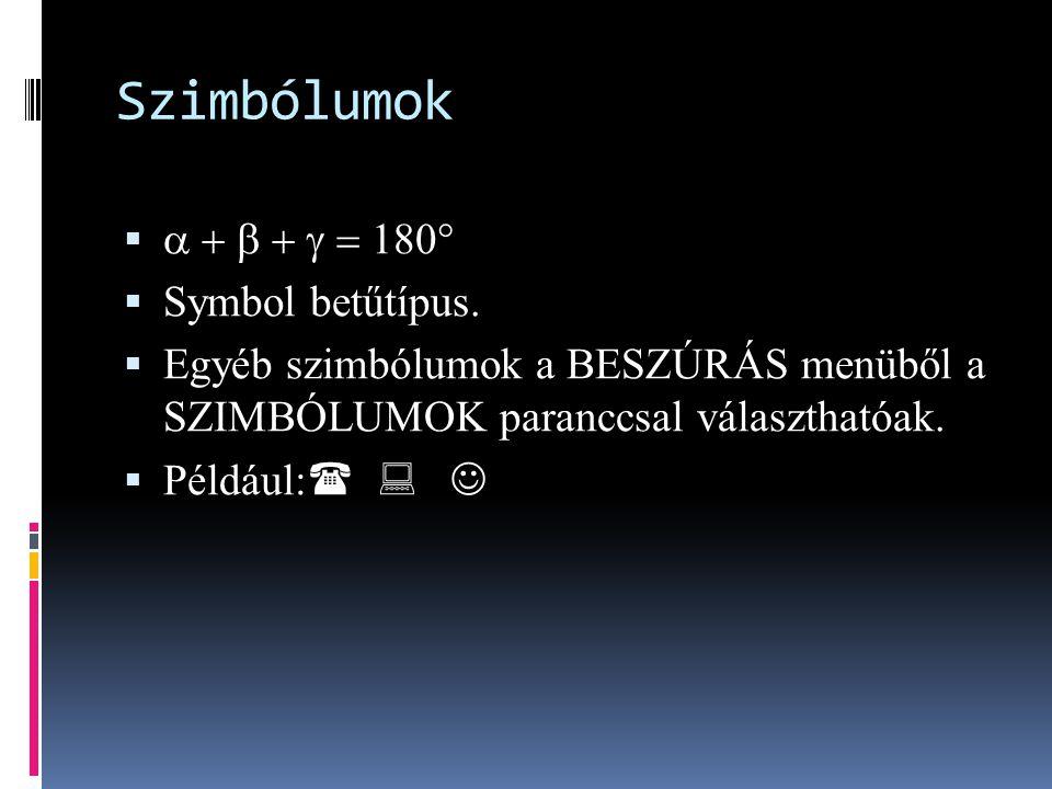 Szimbólumok    Symbol betűtípus.