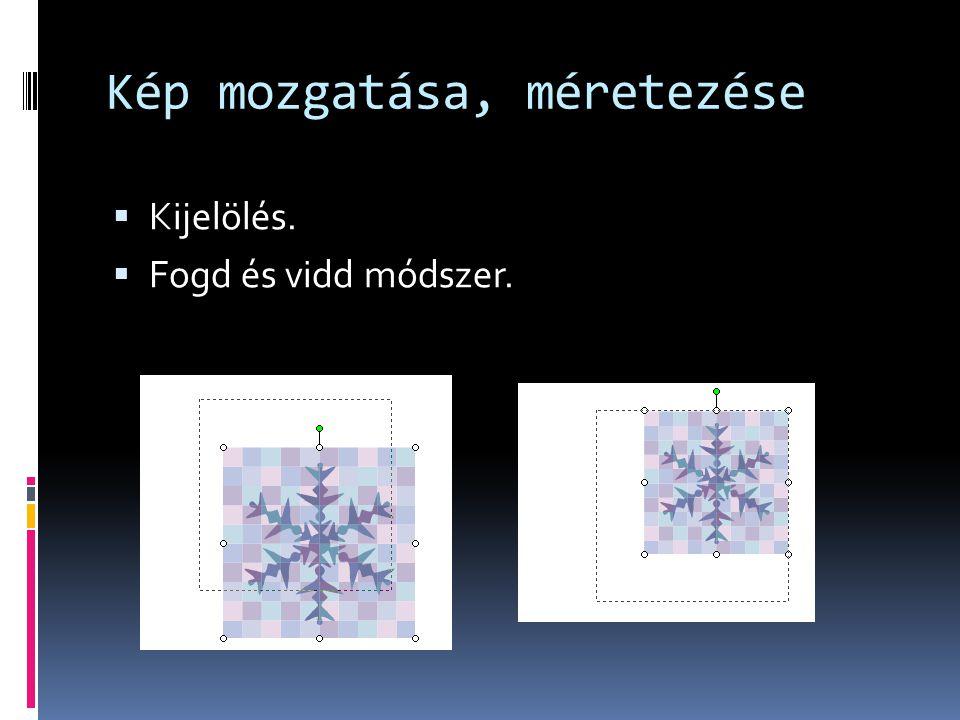 Kép és szöveg helyzete  A kép elhelyezkedhet a szöveggel:  egy sorban  négyzetesen  szorosan  szöveg előtt  szöveg mögött.