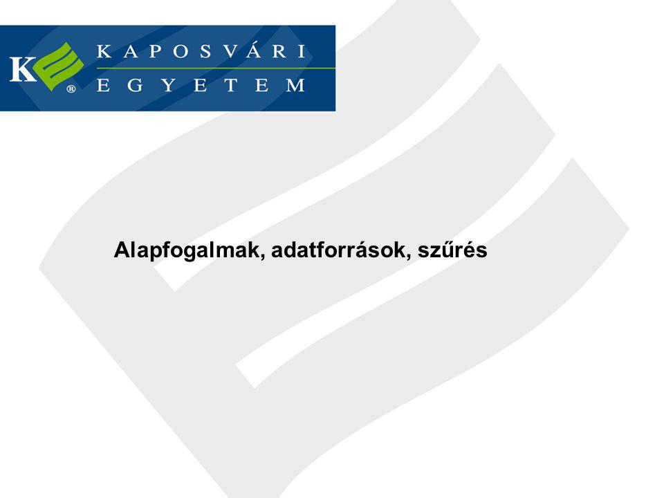 Adatforrások - konvertálás www.ksh.huwww.ksh.hu (Központi Statisztikai Hivatal) Tájékoztatási adatbázis (Excel barát) Stadat táblák (egyszerű másolás + kis formázás) http://epp.eurostat.ec.europa.euhttp://epp.eurostat.ec.europa.eu (Eurostat) Excelben elmenthető táblák www.cia.govwww.cia.gov (The World Fact Book) Mentés txt-ben – csere (.
