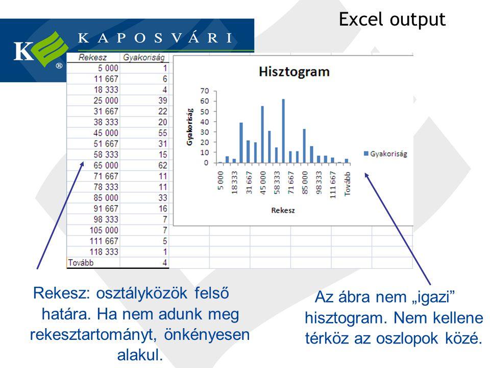 """Excel output Rekesz: osztályközök felső határa. Ha nem adunk meg rekesztartományt, önkényesen alakul. Az ábra nem """"igazi"""" hisztogram. Nem kellene térk"""