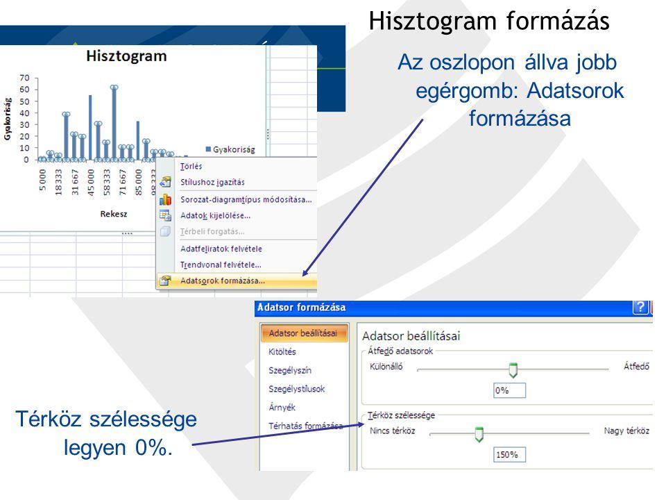Hisztogram formázás Az oszlopon állva jobb egérgomb: Adatsorok formázása Térköz szélessége legyen 0%.