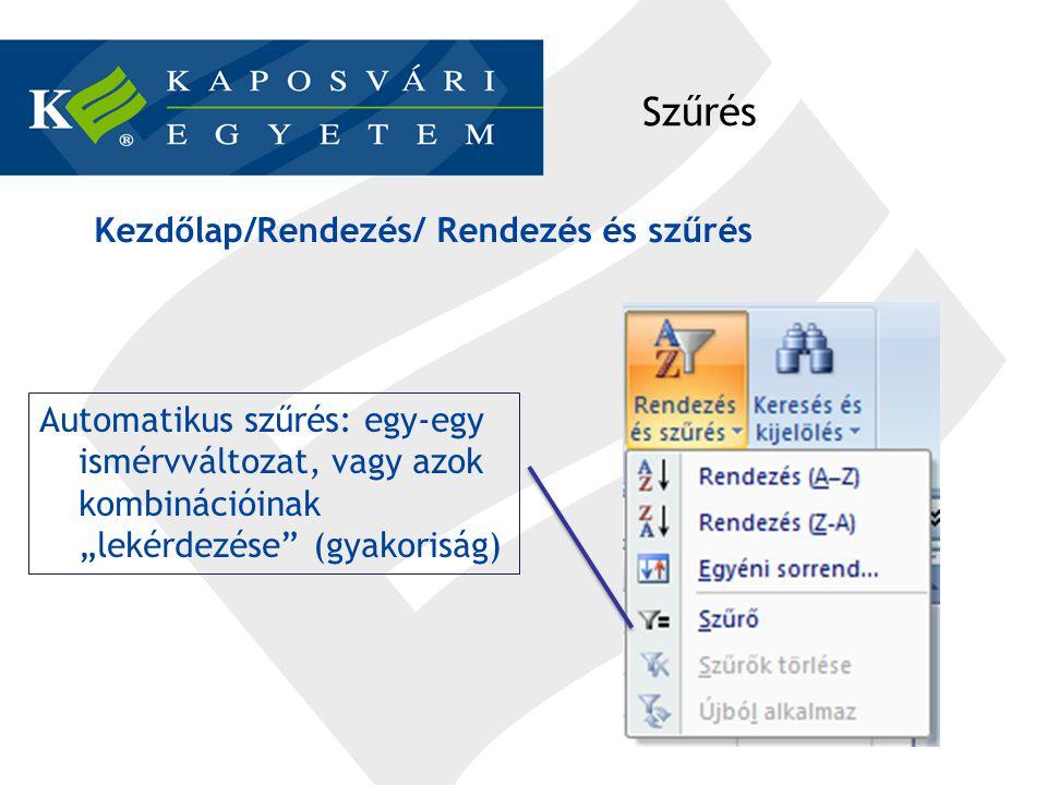 Excel output Rekesz: osztályközök felső határa.