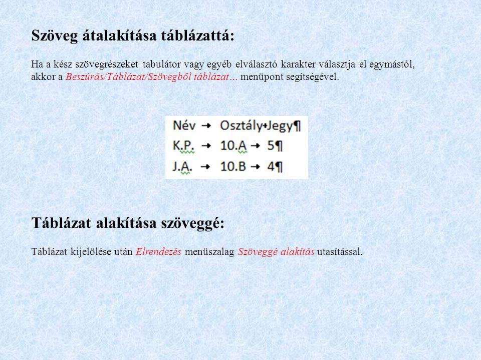 Szöveg átalakítása táblázattá: Ha a kész szövegrészeket tabulátor vagy egyéb elválasztó karakter választja el egymástól, akkor a Beszúrás/Táblázat/Szö