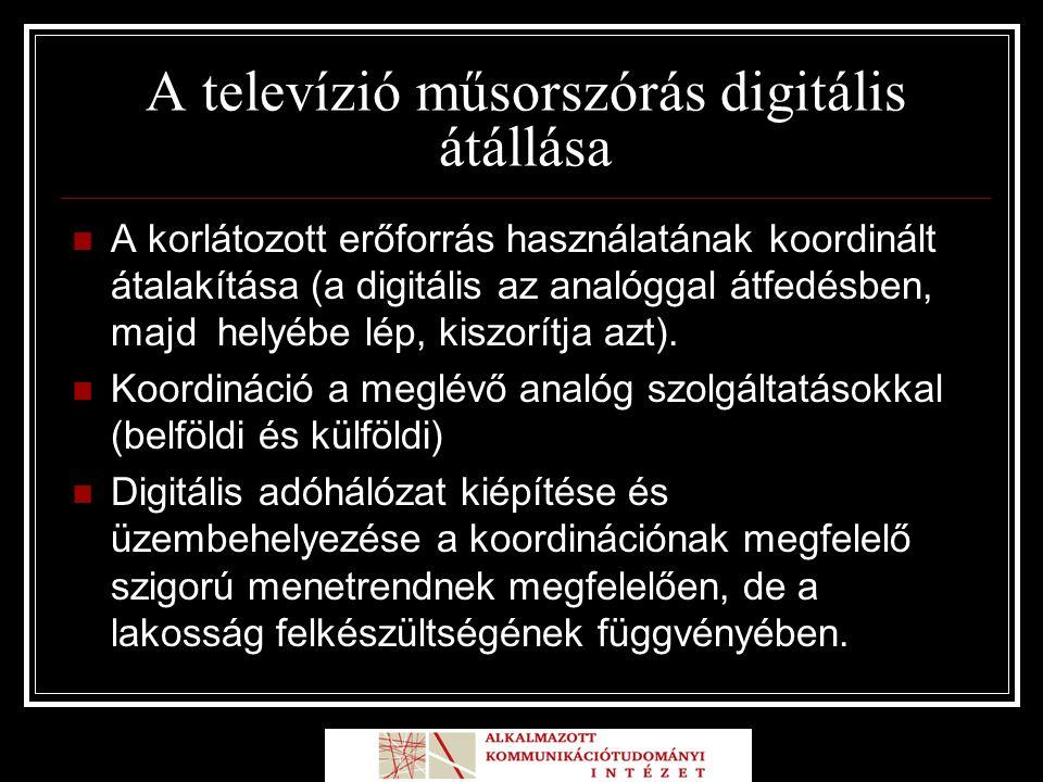 A televízió műsorszórás digitális átállása A korlátozott erőforrás használatának koordinált átalakítása (a digitális az analóggal átfedésben, majd helyébe lép, kiszorítja azt).