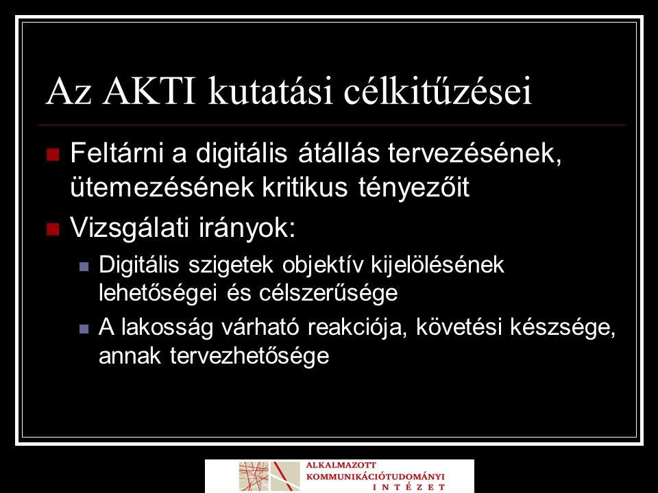 Az AKTI kutatási célkitűzései Feltárni a digitális átállás tervezésének, ütemezésének kritikus tényezőit Vizsgálati irányok: Digitális szigetek objektív kijelölésének lehetőségei és célszerűsége A lakosság várható reakciója, követési készsége, annak tervezhetősége
