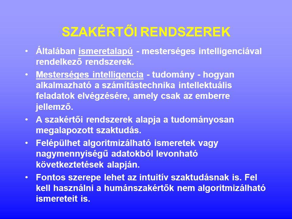 SZAKÉRTŐI RENDSZEREK Általában ismeretalapú - mesterséges intelligenciával rendelkező rendszerek. Mesterséges intelligencia - tudomány - hogyan alkalm