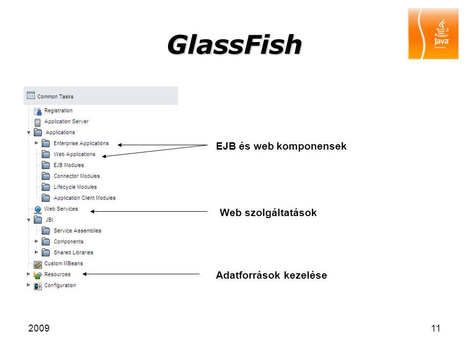 200911 GlassFish Adatforrások kezelése Web szolgáltatások EJB és web komponensek