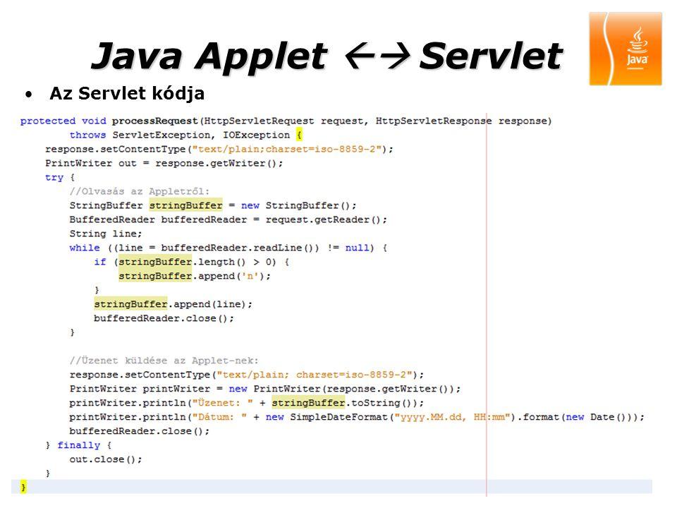 200920 Java Applet  Servlet Az Servlet kódja