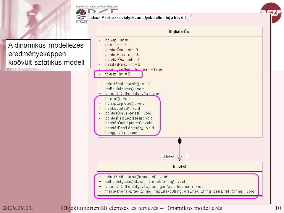 10Objektumorientált elemzés és tervezés – Dinamikus modellezés2009.09.01.
