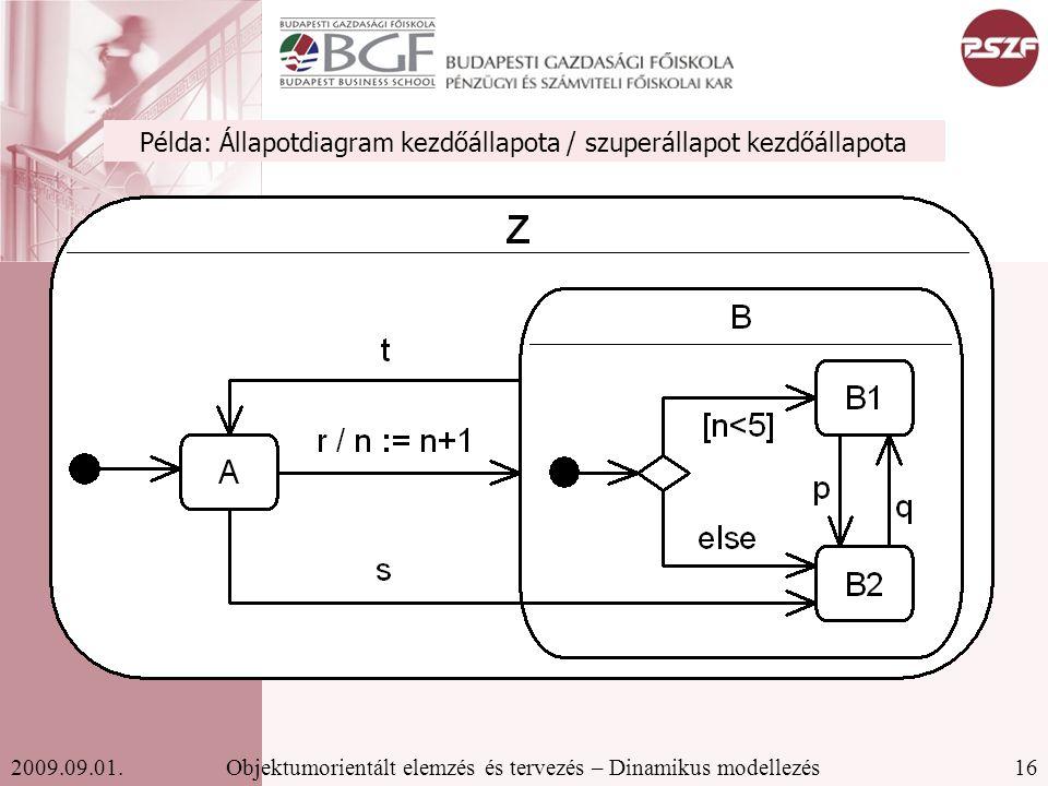 16Objektumorientált elemzés és tervezés – Dinamikus modellezés2009.09.01.