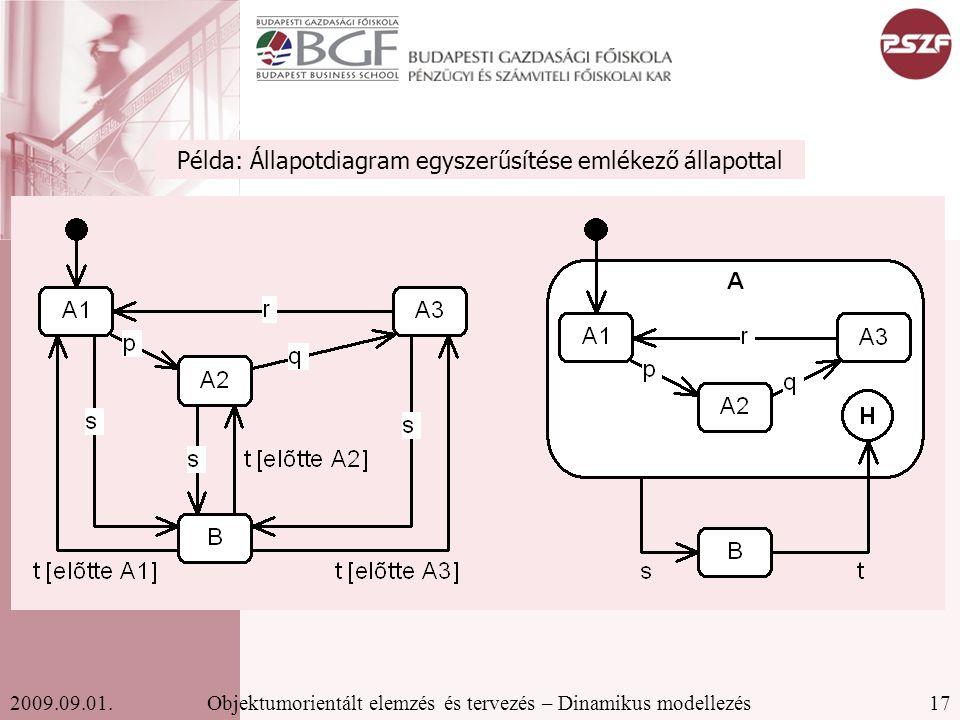 17Objektumorientált elemzés és tervezés – Dinamikus modellezés2009.09.01.