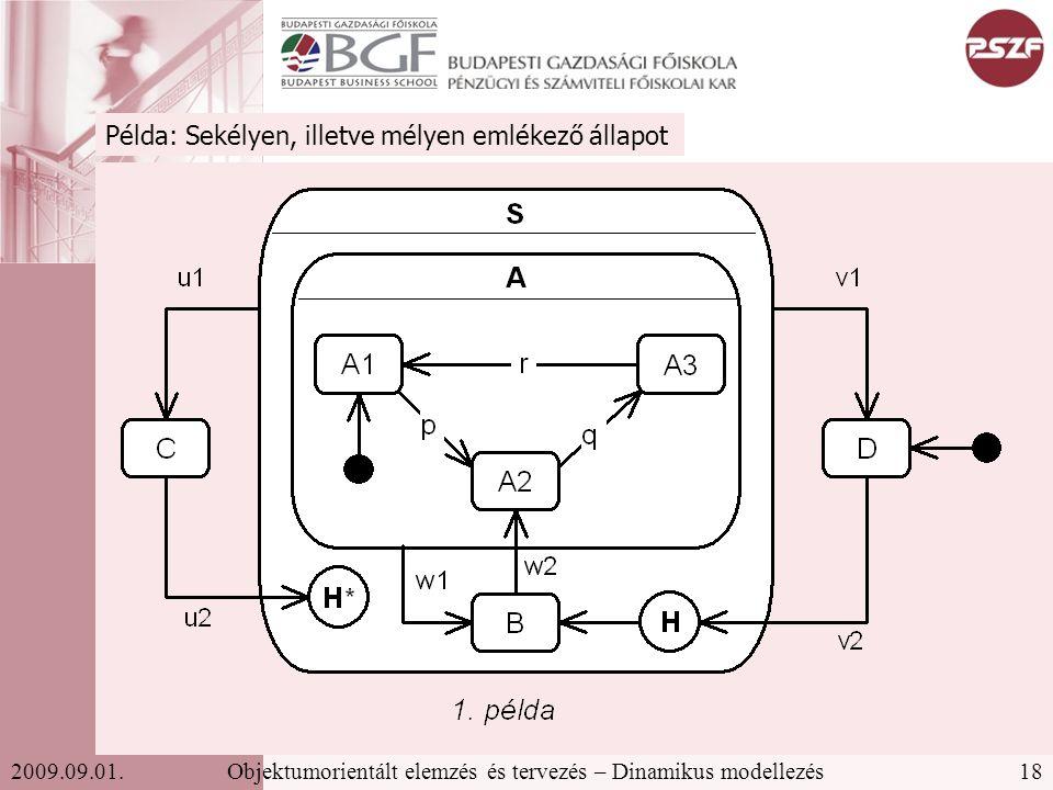 18Objektumorientált elemzés és tervezés – Dinamikus modellezés2009.09.01.