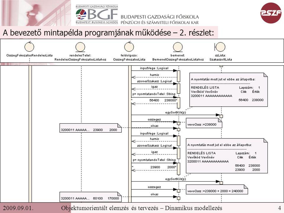 4Objektumorientált elemzés és tervezés – Dinamikus modellezés2009.09.01.