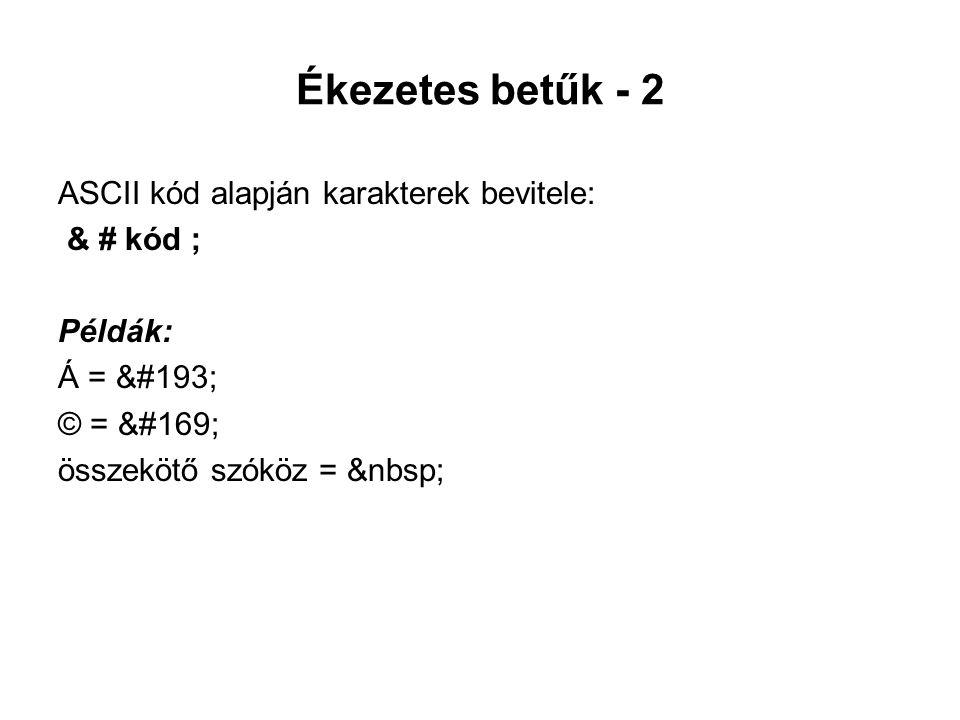 Ékezetes betűk - 2 ASCII kód alapján karakterek bevitele: & # kód ; Példák: Á = Á © = © összekötő szóköz =