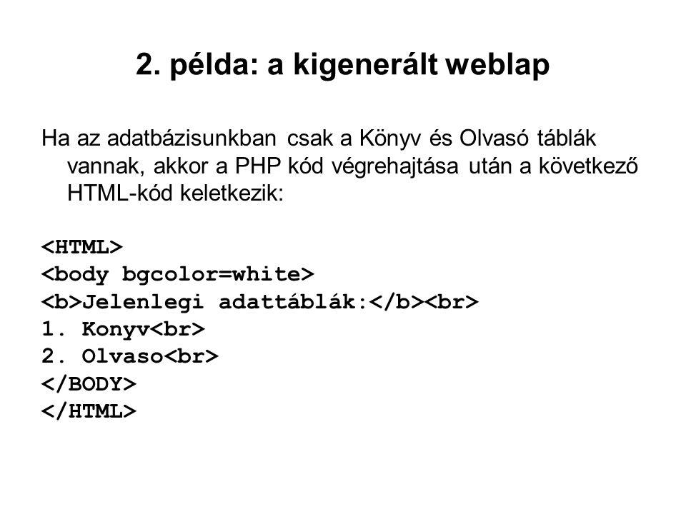 2. példa: a kigenerált weblap Ha az adatbázisunkban csak a Könyv és Olvasó táblák vannak, akkor a PHP kód végrehajtása után a következő HTML-kód kelet