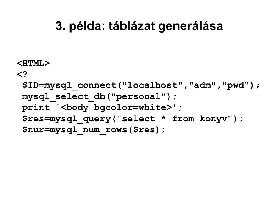 3. példa: táblázat generálása <? $ID=mysql_connect(