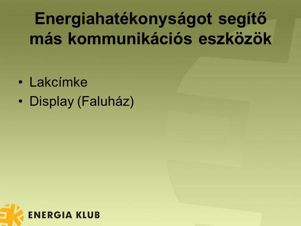 Energiahatékonyságot segítő más kommunikációs eszközök Lakcímke Display (Faluház)