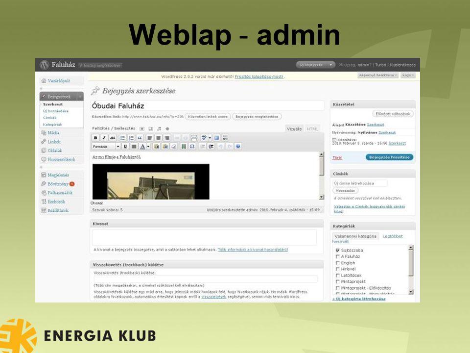 Weblap - admin