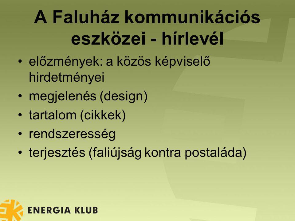 A Faluház kommunikációs eszközei - hírlevél előzmények: a közös képviselő hirdetményei megjelenés (design) tartalom (cikkek) rendszeresség terjesztés (faliújság kontra postaláda)