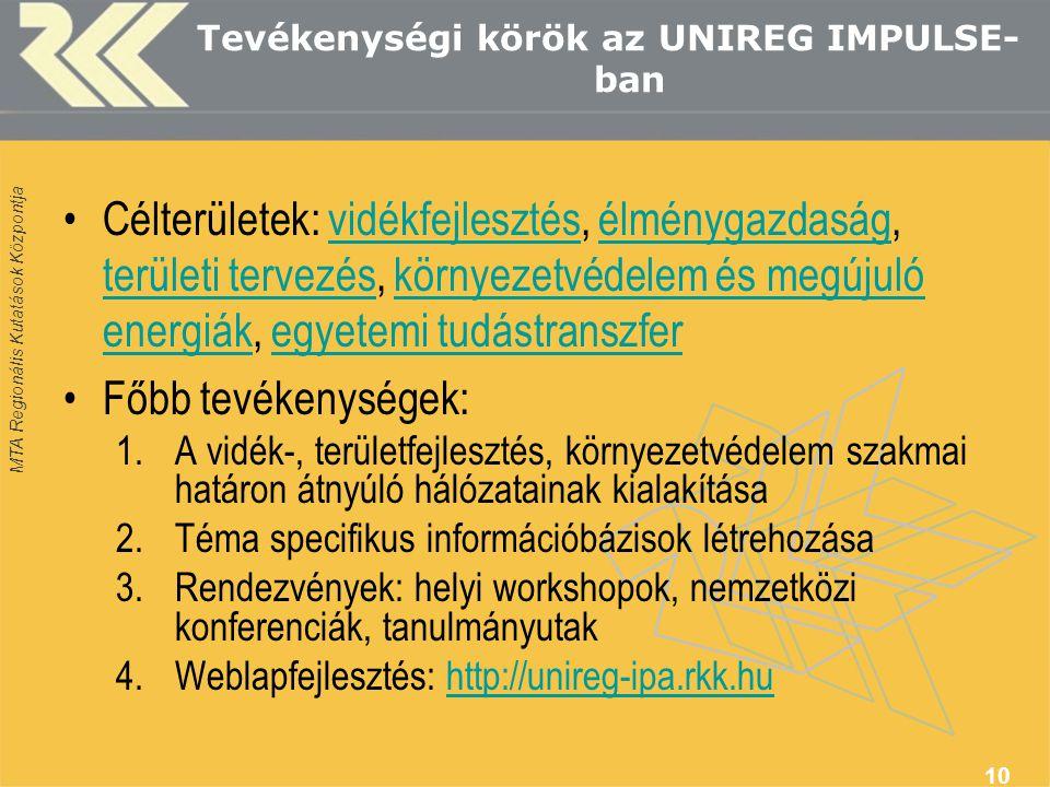 MTA Regionális Kutatások Központja Tevékenységi körök az UNIREG IMPULSE- ban Célterületek: vidékfejlesztés, élménygazdaság, területi tervezés, környez