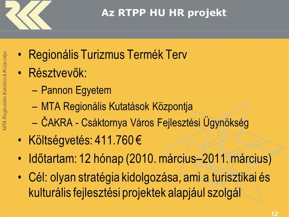 MTA Regionális Kutatások Központja Az RTPP HU HR projekt Regionális Turizmus Termék Terv Résztvevők: –Pannon Egyetem –MTA Regionális Kutatások Központ