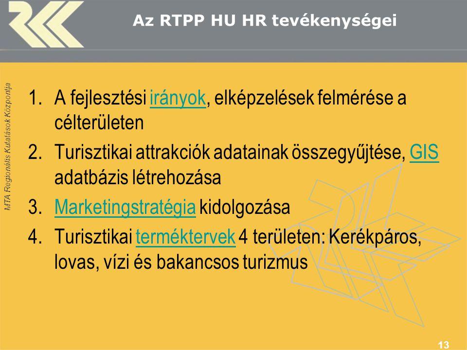 MTA Regionális Kutatások Központja Az RTPP HU HR tevékenységei 1.A fejlesztési irányok, elképzelések felmérése a célterületenirányok 2.Turisztikai att