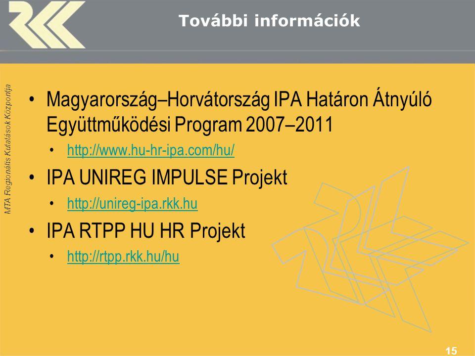 MTA Regionális Kutatások Központja További információk Magyarország–Horvátország IPA Határon Átnyúló Együttműködési Program 2007–2011 http://www.hu-hr