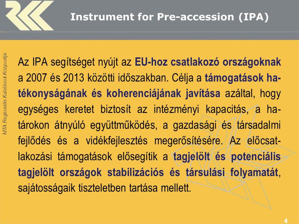 MTA Regionális Kutatások Központja Instrument for Pre-accession (IPA) Az IPA segítséget nyújt az EU-hoz csatlakozó országoknak a 2007 és 2013 közötti