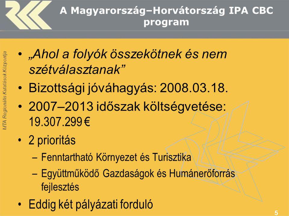"""MTA Regionális Kutatások Központja A Magyarország–Horvátország IPA CBC program """"Ahol a folyók összekötnek és nem szétválasztanak"""" Bizottsági jóváhagyá"""