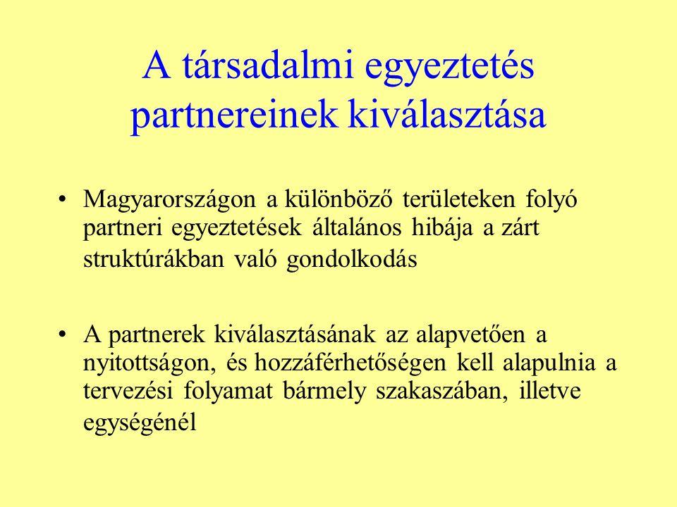 A társadalmi egyeztetés partnereinek kiválasztása Magyarországon a különböző területeken folyó partneri egyeztetések általános hibája a zárt struktúrákban való gondolkodás A partnerek kiválasztásának az alapvetően a nyitottságon, és hozzáférhetőségen kell alapulnia a tervezési folyamat bármely szakaszában, illetve egységénél