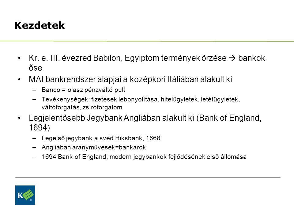 Kezdetek Kr. e. III. évezred Babilon, Egyiptom termények őrzése  bankok őse MAI bankrendszer alapjai a középkori Itáliában alakult ki –Banco = olasz