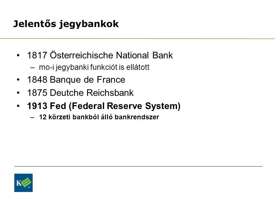 Jelentős jegybankok 1817 Österreichische National Bank –mo-i jegybanki funkciót is ellátott 1848 Banque de France 1875 Deutche Reichsbank 1913 Fed (Federal Reserve System) –12 körzeti bankból álló bankrendszer