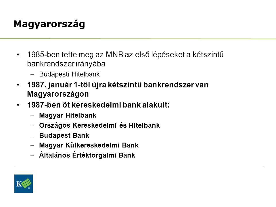 Magyarország 1985-ben tette meg az MNB az első lépéseket a kétszintű bankrendszer irányába –Budapesti Hitelbank 1987. január 1-től újra kétszintű bank