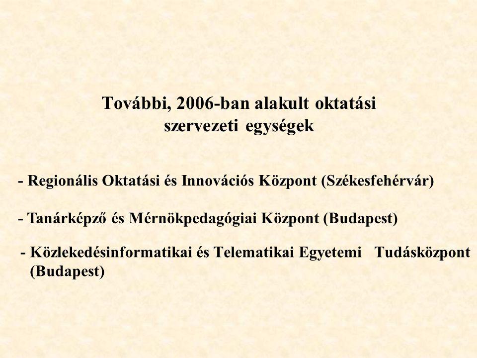 További, 2006-ban alakult oktatási szervezeti egységek - Közlekedésinformatikai és Telematikai Egyetemi Tudásközpont (Budapest) - Tanárképző és Mérnökpedagógiai Központ (Budapest) - Regionális Oktatási és Innovációs Központ (Székesfehérvár)