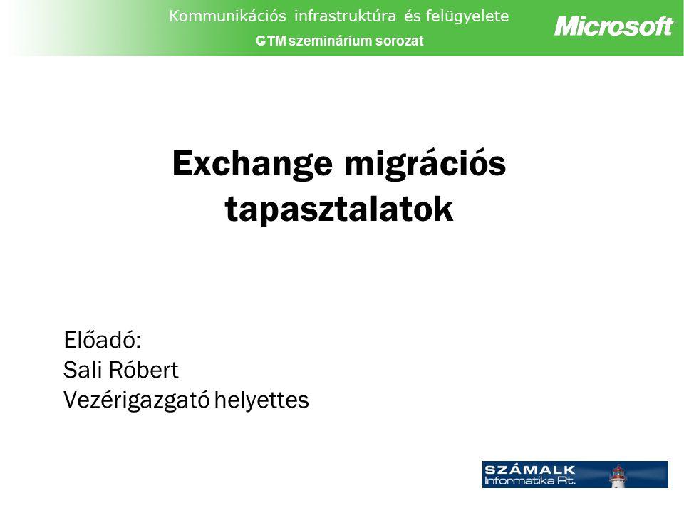 Kommunikációs infrastruktúra és felügyelete GTM szeminárium sorozat Exchange migrációs tapasztalatok Előadó: Sali Róbert Vezérigazgató helyettes