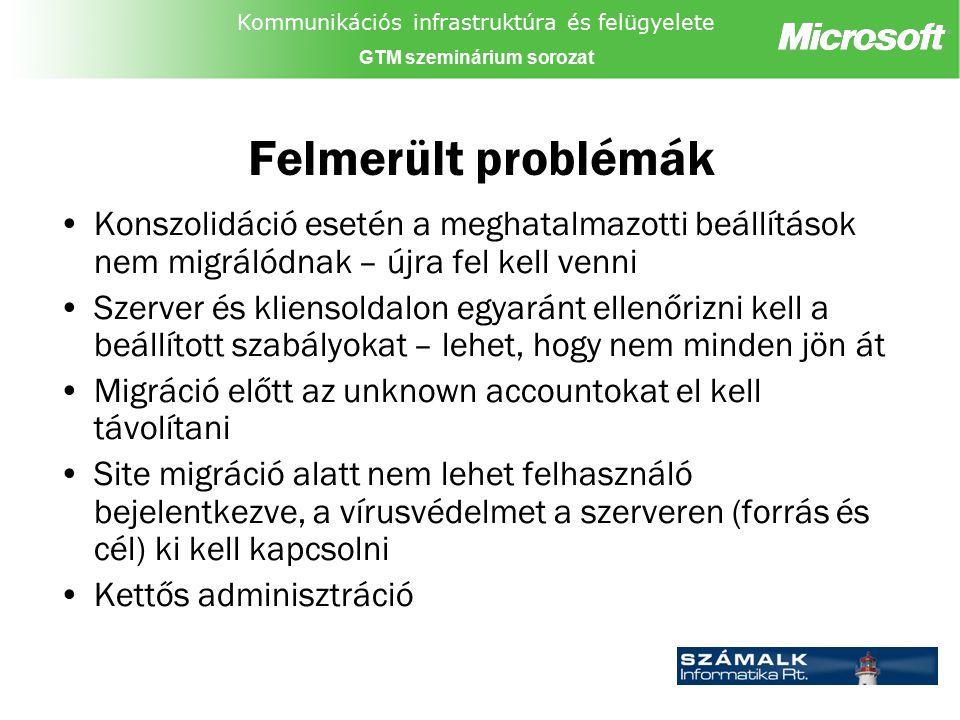 Kommunikációs infrastruktúra és felügyelete GTM szeminárium sorozat Felmerült problémák Konszolidáció esetén a meghatalmazotti beállítások nem migráló