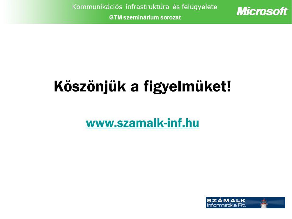 Kommunikációs infrastruktúra és felügyelete GTM szeminárium sorozat Köszönjük a figyelmüket! www.szamalk-inf.hu www.szamalk-inf.hu Partner logó
