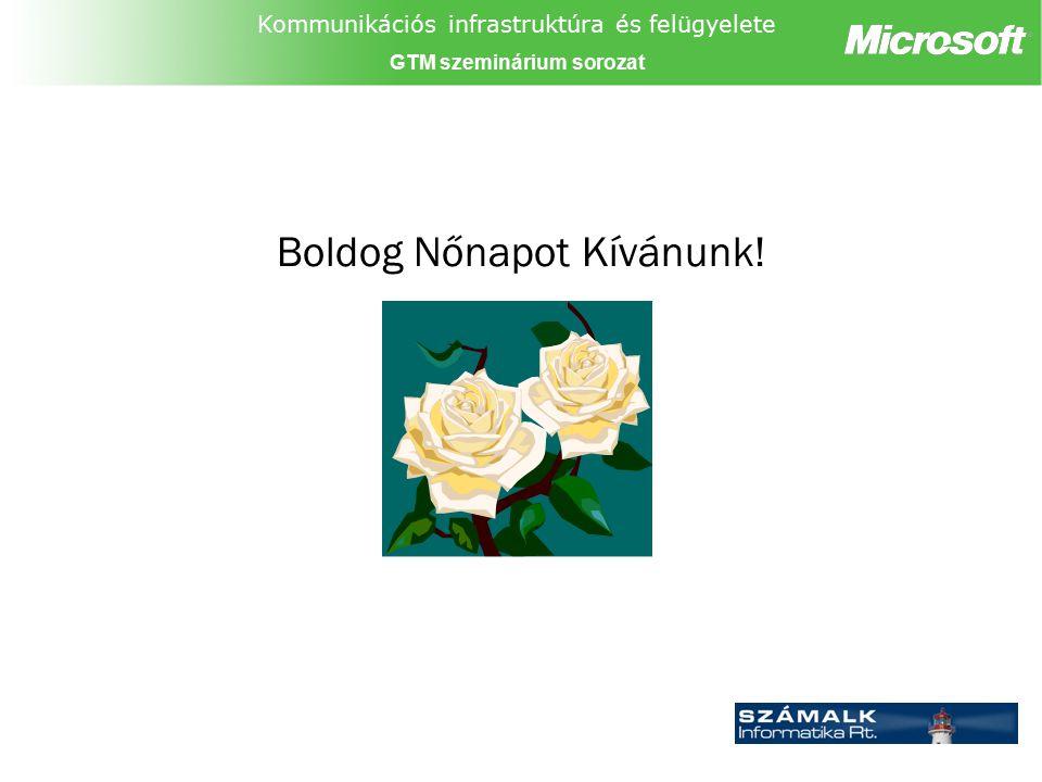 Kommunikációs infrastruktúra és felügyelete GTM szeminárium sorozat Boldog Nőnapot Kívánunk!