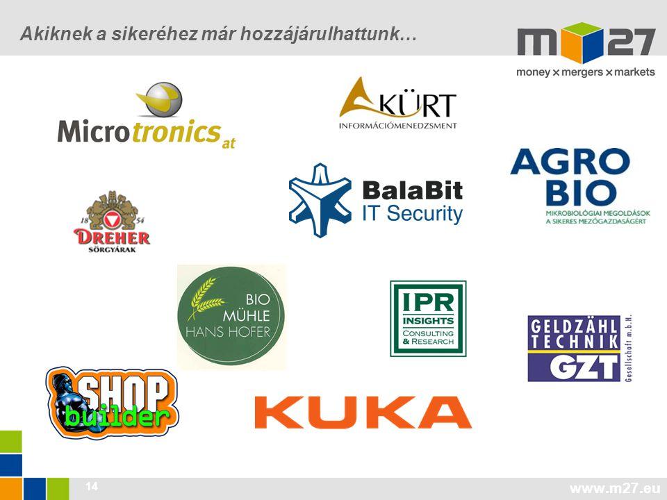 www.m27.eu 14 Akiknek a sikeréhez már hozzájárulhattunk…