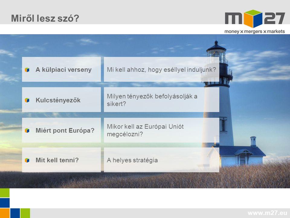 www.m27.eu A külpiaci verseny Kulcstényezők Miért pont Európa? Mi kell ahhoz, hogy eséllyel induljunk? Milyen tényezők befolyásolják a sikert? Mikor k