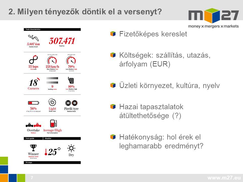 www.m27.eu 7 Fizetőképes kereslet Költségek: szállítás, utazás, árfolyam (EUR) Üzleti környezet, kultúra, nyelv Hazai tapasztalatok átültethetősége (?