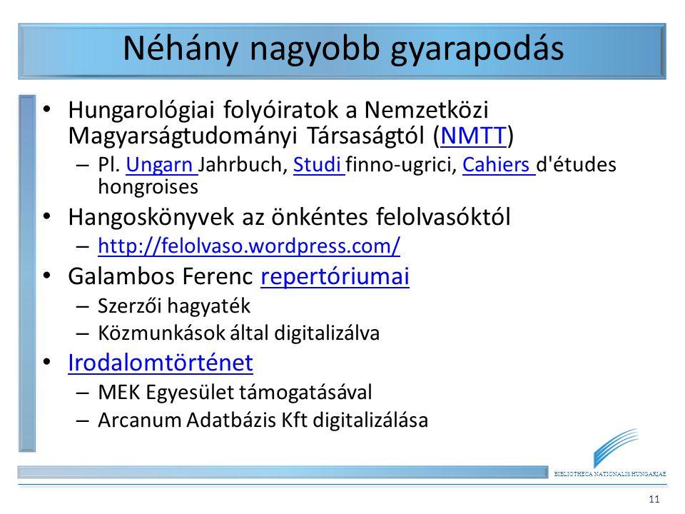 BIBLIOTHECA NATIONALIS HUNGARIAE 11 Néhány nagyobb gyarapodás Hungarológiai folyóiratok a Nemzetközi Magyarságtudományi Társaságtól (NMTT)NMTT – Pl.