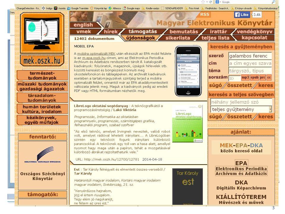 BIBLIOTHECA NATIONALIS HUNGARIAE 4 A kezdetek – EPA – 2004.