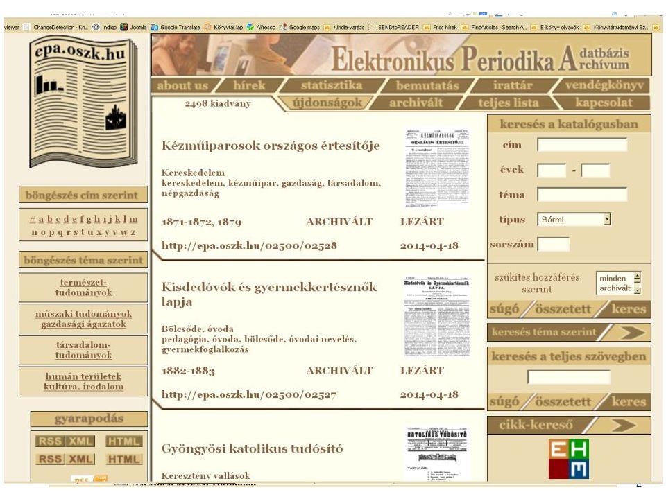 BIBLIOTHECA NATIONALIS HUNGARIAE 5 Fejlesztések – Integráció, átjárhatóság Közös MEK-EPA-DKA kereső – Igény a különböző adatbázisok közös kezelésére.