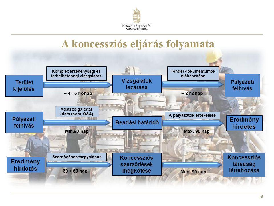 16 A koncessziós eljárás folyamata Beadási határidő Pályázati felhívás Koncessziós szerződések megkötése A pályázatok értékelése Adatszolgáltatás (data room, Q&A) Min.90 nap Koncessziós társaság létrehozása Max.
