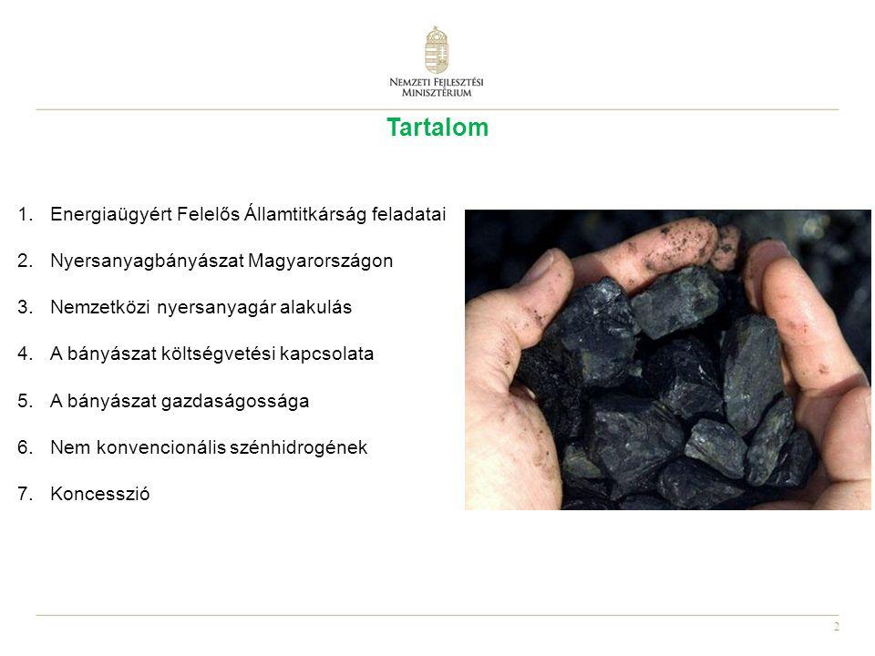 2 Tartalom 1.Energiaügyért Felelős Államtitkárság feladatai 2.Nyersanyagbányászat Magyarországon 3.Nemzetközi nyersanyagár alakulás 4.A bányászat költségvetési kapcsolata 5.A bányászat gazdaságossága 6.Nem konvencionális szénhidrogének 7.Koncesszió